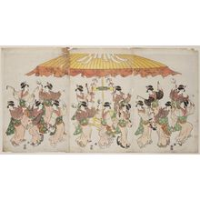 Hosoda Eishi: Women Dancing under a Canopy - Museum of Fine Arts