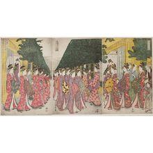 Eishosai Choki: Faithful Depiction of the House Kimono Patterns Worn by Yoshiwara Courtesans Paying Holiday Visits on the Second Day of New Year (Seirô shôgatsu futsuka nenrei shikise kosode moyô shôsha no zu) - Museum of Fine Arts