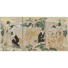 Chokosai Eisho: Women in an Iris Garden; Parody of the Kagaribi Chapter of the Tale of Genji - Museum of Fine Arts