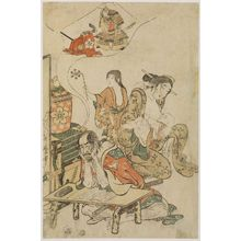 喜多川歌麿: Takechi Jûbei, His Wife Teruko and Son Jûjirô, from an untitled series of warriors - ボストン美術館