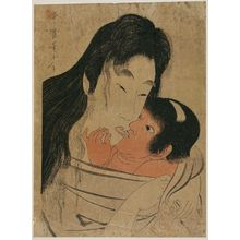 Kitagawa Utamaro: Kintarô and Yamauba Kissing - Museum of Fine Arts