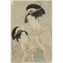 喜多川歌麿: Two Beauties, One Holding a Teacup, the Other Fingering her Hairpin - ボストン美術館