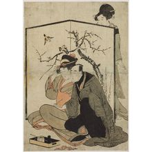 Kitagawa Utamaro: Couple and Maid by a Two-fold Screen - Museum of Fine Arts