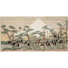 喜多川歌麿: Daimyô's Procession Passing Mount Fuji - ボストン美術館