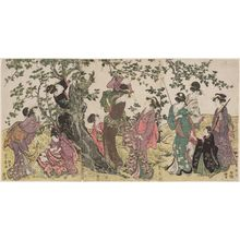 Utagawa Toyohiro: Women and Children Gathering Fruit from a Tree - Museum of Fine Arts