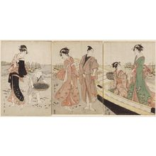 Utagawa Toyokuni I: Woman and Boy Collecting Clams - Museum of Fine Arts
