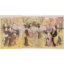 Utagawa Toyohiro: The Third Month, a Triptych (Sangatsu, sanmaitsuzuki), from the series Twelve Months by Two Artists, Toyokuni and Toyohiro (Toyokuni Toyohiro ryôga jûnikô) - Museum of Fine Arts