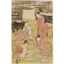 Utagawa Toyokuni I: Women dress-making, measuring and cutting cloth - Museum of Fine Arts