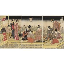 Utagawa Toyohiro: The Sixth Month, a Triptych (Rokugatsu, sanmaitsuzuki), from the series Twelve Months by Two Artists, Toyokuni and Toyohiro (Toyokuni Toyohiro ryôga jûnikô) - Museum of Fine Arts