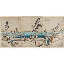 Utagawa Hiroshige: Famous Places in Edo: Snow Viewing by the Sumida River, a Triptych (Kôto meisho Sumidagawa yukimi no zu, sanmaitsuzuki) - Museum of Fine Arts