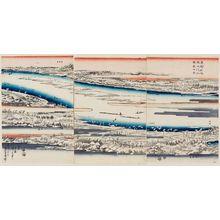 歌川広重: Complete View of the Sumida River: Snow Scene (Sumidagawa zenzu, setchû kei), from the series Famous Places in the Eastern Capital (Tôto meisho) - ボストン美術館