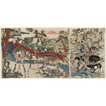 勝川春亭: The Battle of Awazu, a Triptych (Awazu kassen sanmai tsuzuki) - ボストン美術館