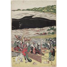 勝川春亭: Whale in the Bay at Shinagawa as Seen from Takanawa (Shinagawa oki no kujira Takanawa yori miru zu) - ボストン美術館
