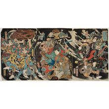Katsukawa Shunsho: Minamoto Yoshinaka and His Four Retainers Defeat the Tengu in the Deep Mountains of Kiso (Minamoto Yoshinaka Shitennô to tomo ni Kiso no okuyama ni tengu o taiji su) - Museum of Fine Arts