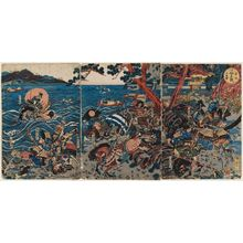 勝川春亭: The Battle of Ichinotani, a Newly Published Triptych (Ichinotani kassen, shinpan sanmaitsuzuki) - ボストン美術館
