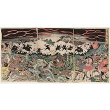 勝川春亭: Yoshinaka's Battle at Hinokawa in the North Country (Yoshinaka Hokkoku Hinokawa kassen) - ボストン美術館