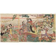 Katsukawa Shuntei: Chinzei Hachirô Tametomo Shows the Power of His Archery on Hachijôjima (Chinzei Hachirô Tametomo Hachijôjima ni oite yunzei no zu) - Museum of Fine Arts