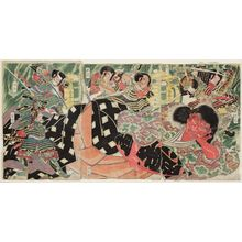 Katsukawa Shuntei: Minamoto Yorimitsu (Raikô) and His Men Killing the Shutendôji - Museum of Fine Arts