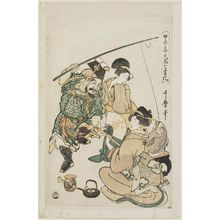 Kitagawa Utamaro: Daikoku Imitating Ebisu, from the series Seven Transformations of Daikoku in the Year of the Wood Rat (Kinoe-ne toshi Daikoku shichi henge) - Museum of Fine Arts