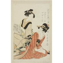 Kitagawa Utamaro: Wild Carnation of Spring and Matronly Hibiscus (Yae-nadeshiko, fuyô no hana), from the series Matching Flowers and Comparing Makeup (Hana awase keshô kurabe) - Museum of Fine Arts