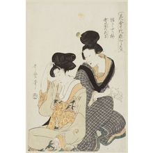 Kitagawa Utamaro: Orchid Courtesan in Full Bloom (Yutte yariume, oiran no hanamori), from the series Matching Flowers and Comparing Makeup (Hana awase keshô kurabe) - Museum of Fine Arts