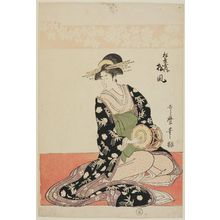 喜多川歌麿: Matsukaze of the Matsubaya, from an untitled series of courtesans of the Matsubaya as Five Musicians - ボストン美術館