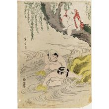 Kikugawa Eizan: Children Playing at Fishing (Sunadori kodomo asobi) - Museum of Fine Arts