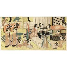 Kikugawa Eizan: Fashionable Procession Arriving at the Entrance of a Mansion (Fûryû gyôretsu genkan no mae) - Museum of Fine Arts