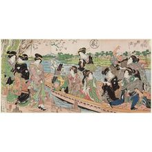 渓斉英泉: Spring: Crossing the Sumida River on the Way Home from Cherry Blossom Viewing (Haru, Hanami kaeri Sumida no watashi), from the series The Four Seasons (Shiki no uchi) - ボストン美術館