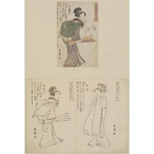 Kitagawa Utamaro: a- Onna Akindo - woman carrying scrolls. b- Shinzo - woman fixing hair pin. Book: Onna Fuzoku Shinasadame. - Museum of Fine Arts