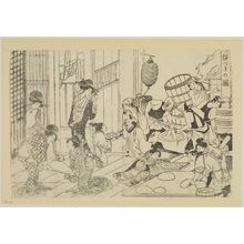 Kitagawa Utamaro: Pounding Dough for New Year Ricecakes (Mochizuki no zu), from the book Seirô ehon nenjû gyôji (Picturebook of Annual Events in the Yoshiwara) - Museum of Fine Arts