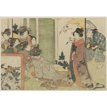Kitagawa Utamaro: Manzai Performance at a Mansion, from Vol. 1 of the book Ehon shiki no hana (Flowers of the Four Seasons) - Museum of Fine Arts