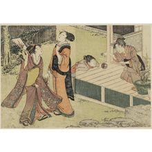 喜多川歌麿: Girls Playing New Year Games, from Vol. 1 of the book Ehon shiki no hana (Flowers of the Four Seasons) - ボストン美術館
