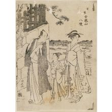 Torii Kiyonaga: Visiting Komagata-dô Temple, from the series Eight Views of the Area of Kinryûzan Temple in Asakusa (Asakusa Kinryûzan hakkei) - Museum of Fine Arts