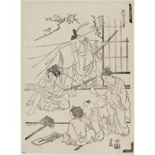 鳥居清長: Playing Theater, from the series Twelve Months of Playful Children (Gidô jûnigatsu) - ボストン美術館