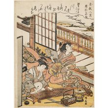 Torii Kiyonaga: Descending Geese of the Koto Bridges (Kotoji rakugan), from the series Eight Views of the Parlor (Zashiki hakkei) - Museum of Fine Arts