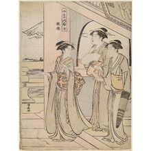 鳥居清長: The Temple of the Five Hundred Arhats (Rakan), from the series Mount Fuji in the Four Seasons (Shiki no Fuji) - ボストン美術館