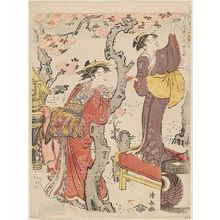鳥居清長: Cherry Blossoms at Naka-no-chô in the Yoshiwara (Naka-no-chô), from the series Snow, Moon and Flowers in the Fashionable Life of the East (Setsugekka Azuma fûryû) - ボストン美術館