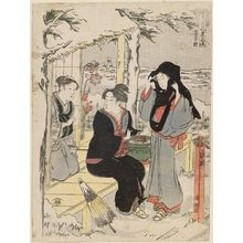 Torii Kiyonaga: Snow at Ôji Village (Ôjimura), from the series Snow, Moon and Flowers in the Fashionable Life of the East (Setsugekka Azuma fûryû) - Museum of Fine Arts
