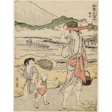 鳥居清長: Tago Bay, from the series Mount Fuji in the Four Seasons (Shiki no Fuji) - ボストン美術館