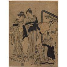 鳥居清長: Young Man, Older Man, and Woman Dressed as Komusô - ボストン美術館