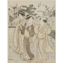 Torii Kiyonaga: The Shrine of Hotei at Nippori (Nippori Hotei), from the series Visits to the Shrines of the Seven Lucky Gods in Edo (Edo Shichi Fukujin mairi) - Museum of Fine Arts