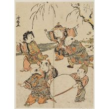 Torii Kiyonaga: Chinese Boys Playing in Snow, from an untitled series of Chinese Children (Karako) - Museum of Fine Arts