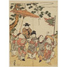 鳥居清長: Boys Imitating the Procession of a Ryukyuan Ambassador, from an untitled series of Chinese Children (Karako) - ボストン美術館