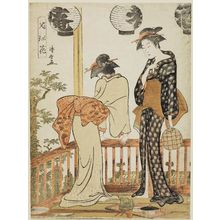 Torii Kiyonaga: Two Women on a Balcony, from the series Flowers of Nakasu (Nakasu no hana) - Museum of Fine Arts