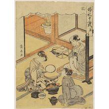 鳥居清長: Blacking the Teeth (Kanetsuke), No. 3 from the series Twelve Rituals of Marriage (Konrei jûni-shiki) - ボストン美術館