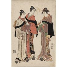 Torii Kiyonaga: Two Young Men and a Woman Dressed as Komusô - Museum of Fine Arts