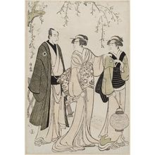 鳥居清長: Actors Nakamura Rikô as the Geisha Otsuma of Tanbaya (C), Ichikawa Danjuro V as Koguya Yahei (L), and an unidentified actor as the maid (R) - ボストン美術館