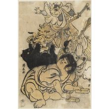 鳥居清長: Kintarô Playing Theater with a Demon, Bear, and Tengu - ボストン美術館