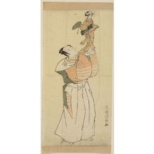 Torii Kiyonaga: Puppet Player Holding a Female Puppet in Traveling Costume - Museum of Fine Arts